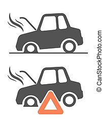 Vector icon of warning triangle and breakdown cars - Vector...