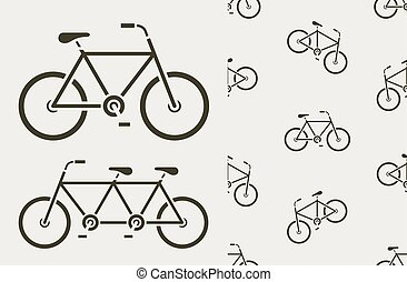 Vector icons and seamless pattern of bikes tandem - Vector...