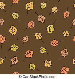 Oak leaves seamless pattern. Autumn background - Funny...