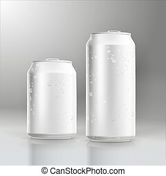 Photorealistic vector beer can mockup with water drops