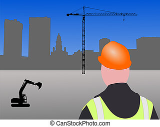 fort worth construction site with worker and crane