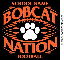 bobcat nation football team design with paw print inside...