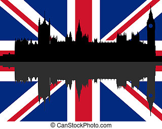 Houses of Parliament with flag
