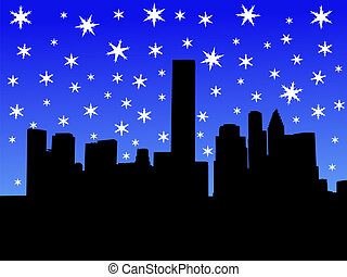 Houston skyline in winter with falling snow illustration
