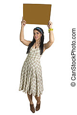 happy female holding blank sign