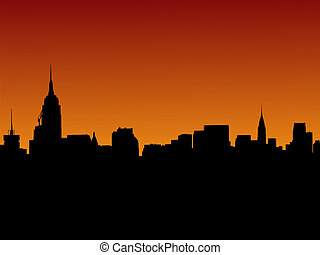 Midtown Manhattan skyline at sunset illustration with over...