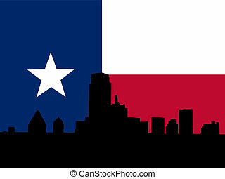 Dallas with Texan flag - Dallas Skyline with Texan flag...