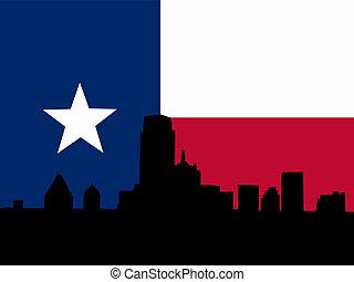 Dallas with Texan flag - Dallas Skyline with Texan flag...