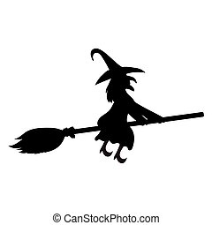Scary witch flying - Scary witch witch flying on a broom on...