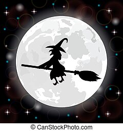 witch on a background of the full moon - Silhouette of a...