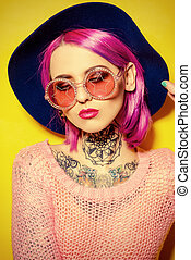 pink and crimson - Party girl with crimson hair wearing...