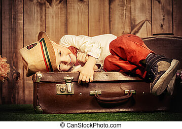 funny laughing kid - Funny laughing little boy lying on his...