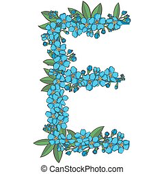 Forget me not vector alphabet. Letter E