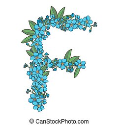 Forget me not vector alphabet. Letter F