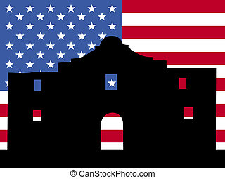 The Alamo with American flag - The Alamo San Antonio with...