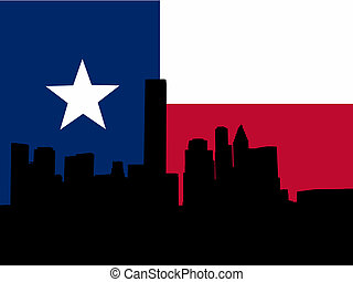 Houston skyline with flag - Houston skyline with Texan flag...