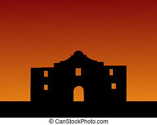 The Alamo at sunset - The Alamo San Antonio at sunset with...