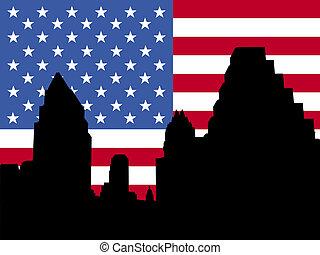Austin Skyline with flag - Austin Skyline with American flag...