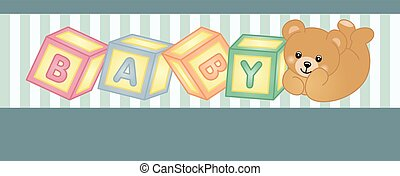 Teddy bear baby shower party banner - Scalable vectorial...