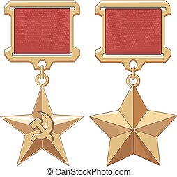 Soviet Hero Stars. Honor insignia. Vector illustrations.