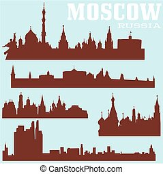 Set of Moscow skylines