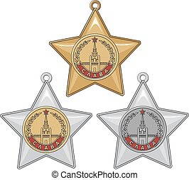 Soviet Order of Glory - Soviet Military Order of Glory. Set...