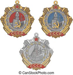 Soviet Order of Labour Glory. Set of three classes. Vector...