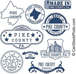 Pike county, PA, generic stamps and signs - Pike county,...