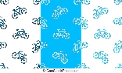 Seamless vector pattern set of bicycle silhouettes