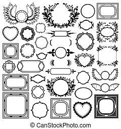 Set of ornamental black vintage frames and borders