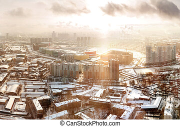 Panorama view of Moscow, Russia. Horoshevo district. Early winter morning, sunrise.