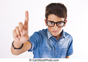 isolated child pointing finger