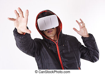 young man with virtual reality viewer