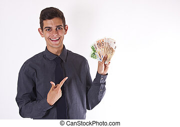 young man with cash