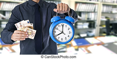 businessman with money and watch in the office