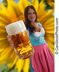 Concept Girl Oktoberfest Beer and sunflower - Concept...