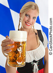 Bavarian Waitress with Oktoberfest Beer - Bavarian Waitress...