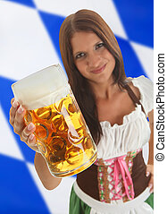 Bavarian Waitress holding Oktoberfest Beer - Bavarian Woman...