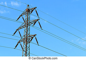 Old transmission tower also power tower or electricity pylon...