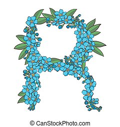 Forget me not vector alphabet. Letter R