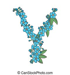 Forget me not vector alphabet. Letter Y