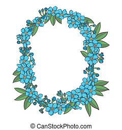 Forget me not vector alphabet. Letter O