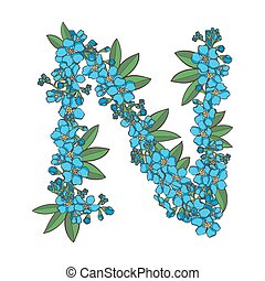 Forget me not vector alphabet. Letter N