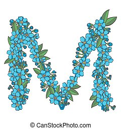 Forget me not vector alphabet. Letter M