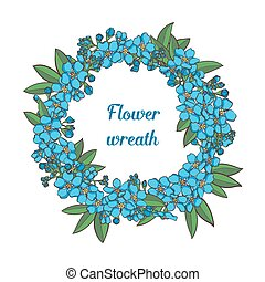 Forget me not vector wreath - Blue Forget me not vector...