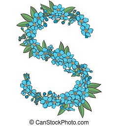 Forget me not vector alphabet. Letter S