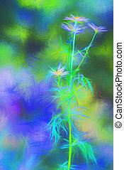 Digital art flower - Art style chamomile. Daisy flower on...