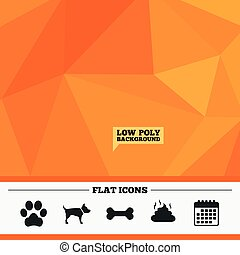 Pets icons. Dog paw and feces signs. - Triangular low poly...
