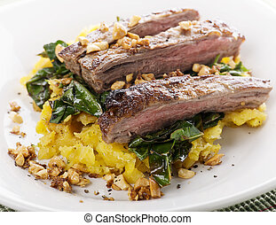 flank steak with vegetables - flank steak with mashed...