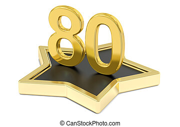 golden number 80 on star podium, award concept 3D rendering...